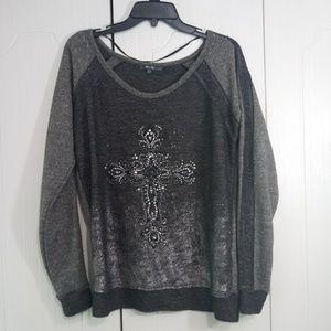 Miss Me Gray Long Sleeve Cross Shirt Size L